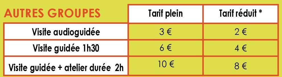 tableau des tarifs pour groupes d'adultes